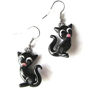 Glass Cat with Tail earrings