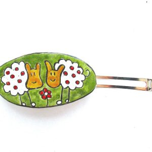 Two sheep with flower, enamel hair clip, oval shape.